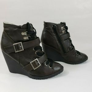 Candies Brown Wedge Ankle Boots Side Zipper